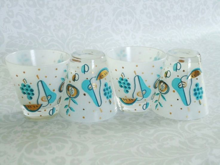 Mid Century Modern Barware Set Of 4 Shot Gles Mad Men Frosted Turquoise Gl