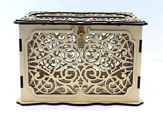 WEDDING CARD BOX Lockable, Wedding Money Box With Lock, Wedding Card Holder, Wedding Gift Card Box, Wooden Card Box, Wedding Keepsake Box This beautiful wooden lace of wedding keepsake box is made of high quality and high density 1/4 plywood. SIZE: Length approx. : 12,2 (31 cm)