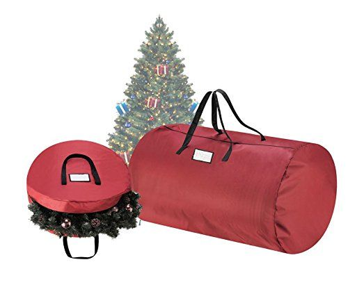 "Tiny Tim Totes Premium Red Canvas Christmas Tree Storage Bag & 30"" Inch Wreath Bag"