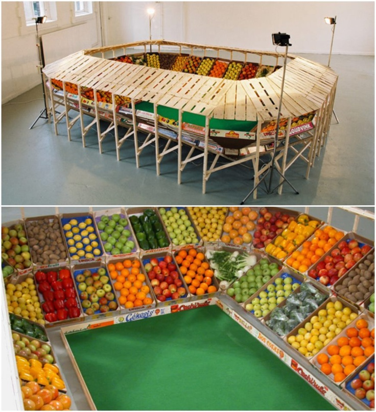 FRUIT STADIUM Are you ready for some FRUITBALL?! Check out this football stadium made from recycled produce crates.