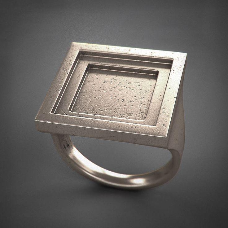 Square Ring - Rito - acciaio/argento/titanio di Printmyjewel su Etsy #printmyjewel @printmyjewel