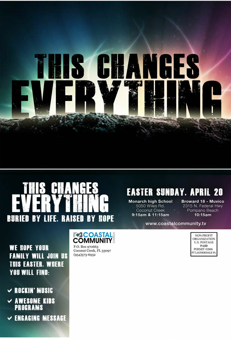 best images about youth flyers youth ministry post card mailer for 2014 easter service at coastal community church in coconut creek fl