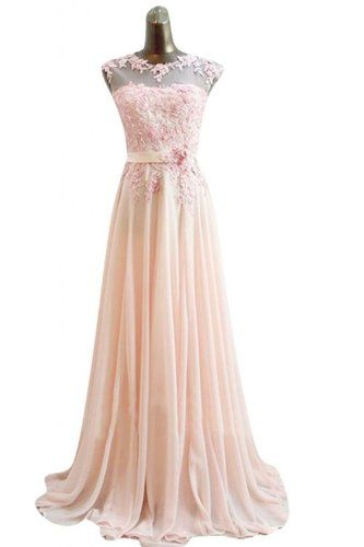 Diyouth Chiffon Bridesmaid Dresses Evening Prom Gown Pink Long Formal party Dress Size 4 Diyouth