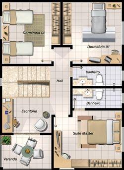 Planta de casa com três quartos                                                                                                                                                                                 Mais