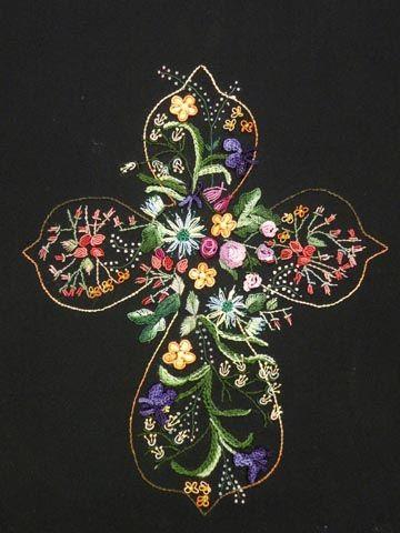 "JDR Brazilian Elegance New Design - Dimensional Brazilian Embroidery ""He Lives"" Cross JDR 6219"
