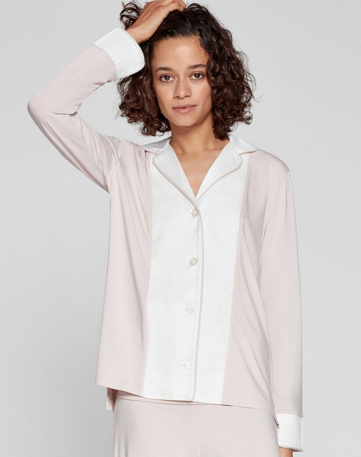 Ladies Nightwear | Shop Mixed Media Pyjama Shirt in pink and white from ME+EM