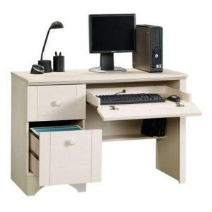 desk computer office home workstation table furniture laptop woodantique white