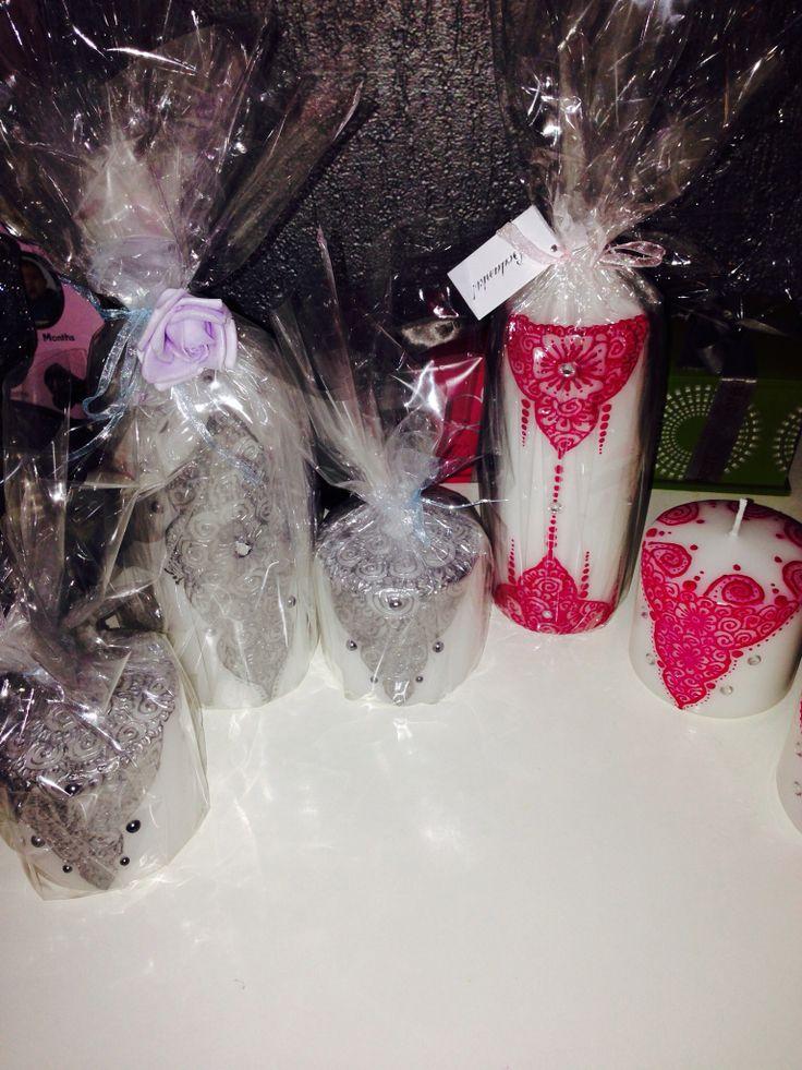 Grijs/roze kleurig kaarsen set