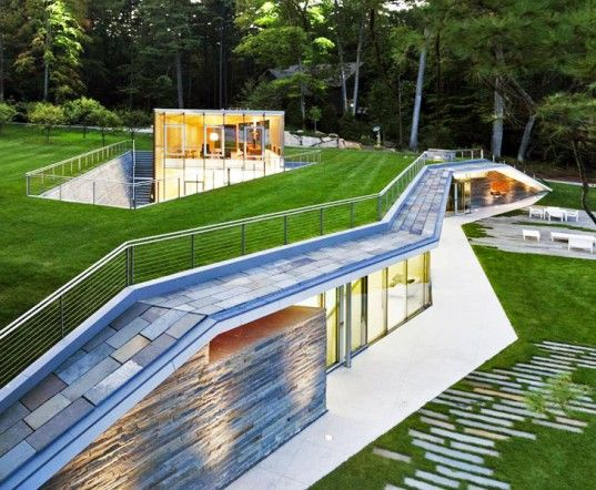 GLUCK+'s Green-Roofed Pavilion Pool House Melts Into the Landscape of Lake George, NY | Inhabitat - Sustainable Design Innovation, Eco Archi...