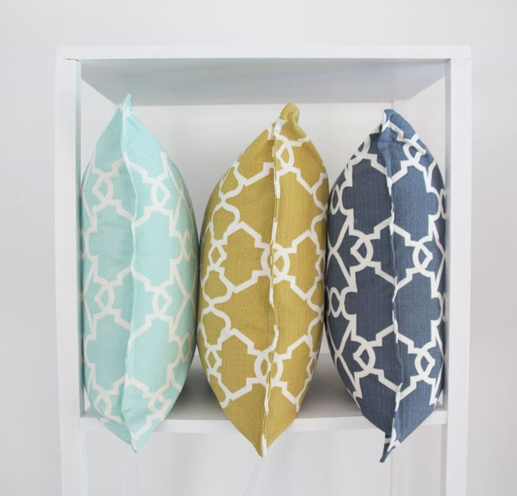 Elle Kay Fabrics Trellis Cushion Cover available in three colours, Spearmint; Mustard and Denim
