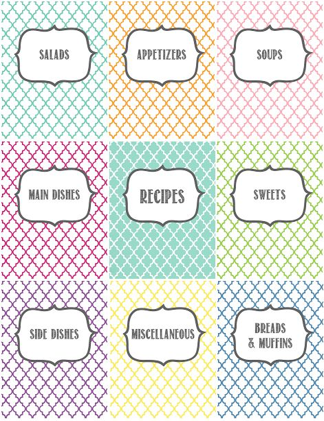 Recipe Binder Printables By Melanie Gets Married Organize Your Recipes With These Pretty Cover Pages