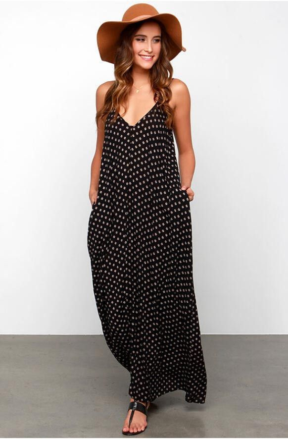 Oversize Halter Dot V neck Dress   sunaai