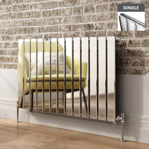 Hayes Horizontal Flat Panel Designer Gas Radiator in Chrome 600mm x 980mm - soak.com