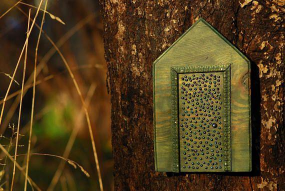 Peacock Colors Beads Mysterious Door Green Magic Fairy Witch Door For Tree Fairy Doors On Trees Fairy Garden Doors Fairytale Decor