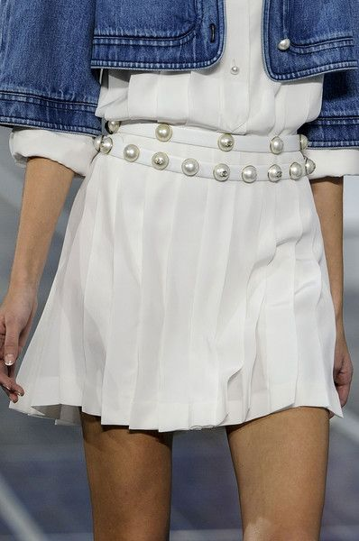 """Chanel Spring 2013 :: Blue Denim Jacket & White Pleated Skirt :: Pearl Belt #fashion"""