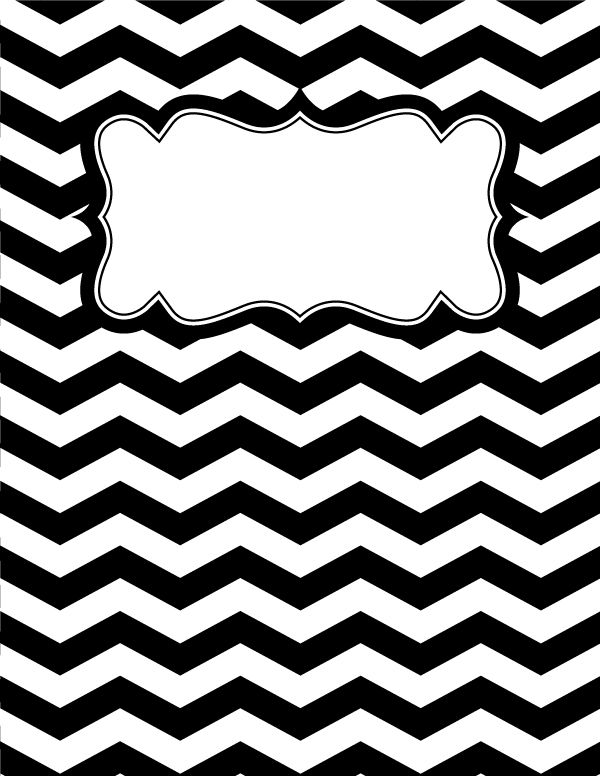 Free printable black and white chevron binder cover template. Download the cover in JPG or PDF format at http://bindercovers.net/download/black-and-white-chevron-binder-cover/