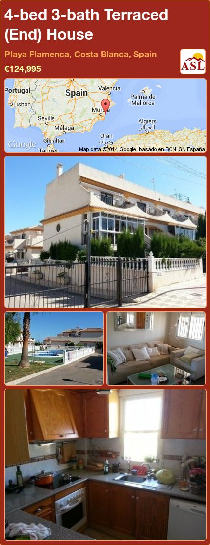 4-bed 3-bath Terraced (End) House in Playa Flamenca, Costa Blanca, Spain ►€124,995 #PropertyForSaleInSpain