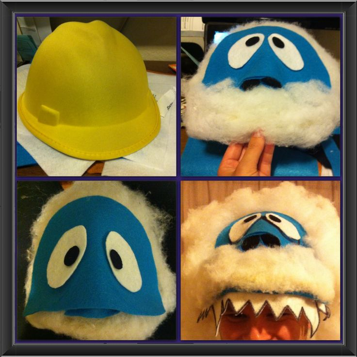 Abominable Snowman Hat/Mask  Started with a foam construction hat purchased after Halloween at Target. Added felt squares and stuffing to complete the hat.