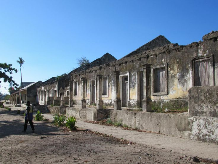 Ruined buildings line Rua da República on Ibo Island, Mozambique. For much of the Portuguese period Ibo was the second most important slave port in the region after Mozambique Island.
