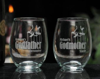 Godparent Gift, Godmother Wine Glass, Godfather Wine Glass, Godparents Glass, Godmother Gift, Godfather gift, Baptism Favor, Godparent Gift