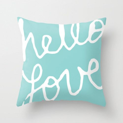 Hello Love Graphic Pillow Cover - Tiffany Blue Aqua Modern Throw Pillow - Typography Home Decor - By Aldari Home