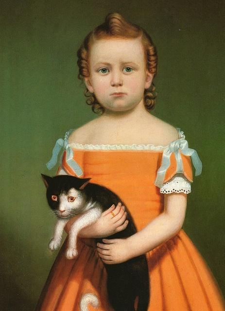 William Thompson Bartoll Girl In Orange Dress With Cat