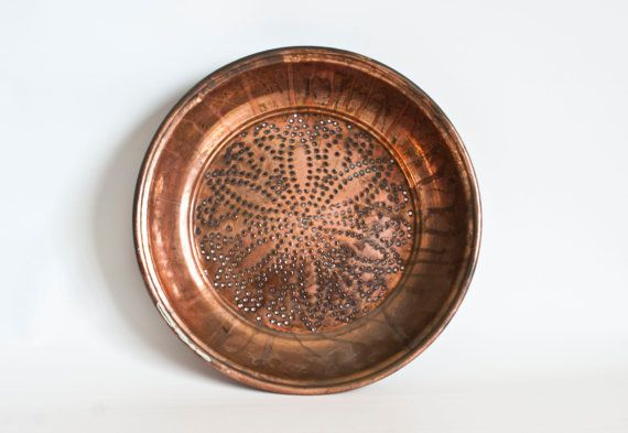 LARGE Vintage Pierced Copper Colander Rustic  decor- from TheWildWorld