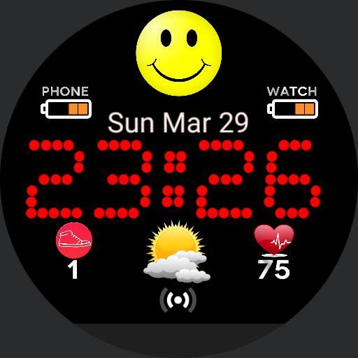 Happy face and little luck! Tap action for step counter ...