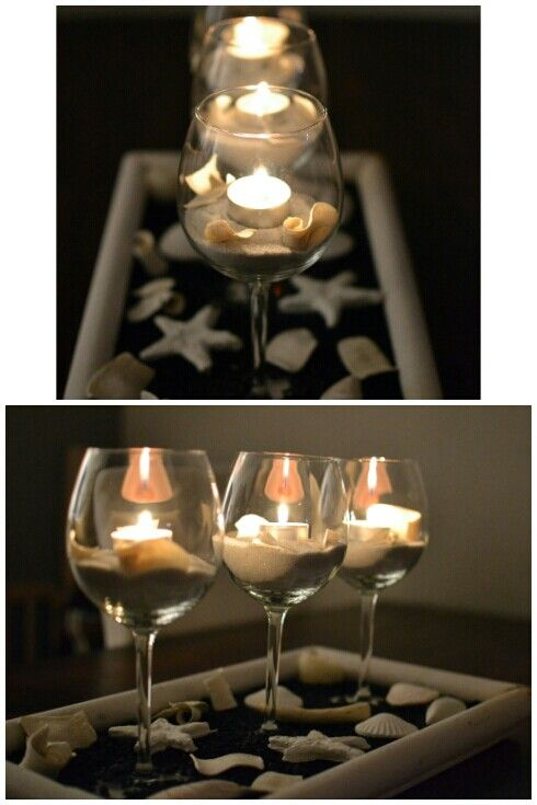 Ikea Weinglas je 99Cent + Dekosand 1,50 Euro + Dekomuscheln und -sterne 1,99 Euro!