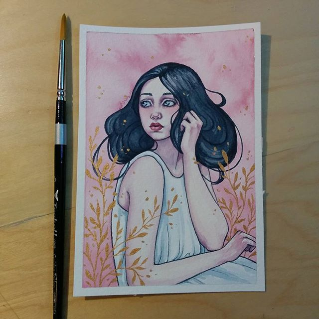 [8/50] Painted this based off the sketch from yesterday :) #painting #sketch #watercolor #gouache #winsorandnewton #trekell by ellenwilbergart