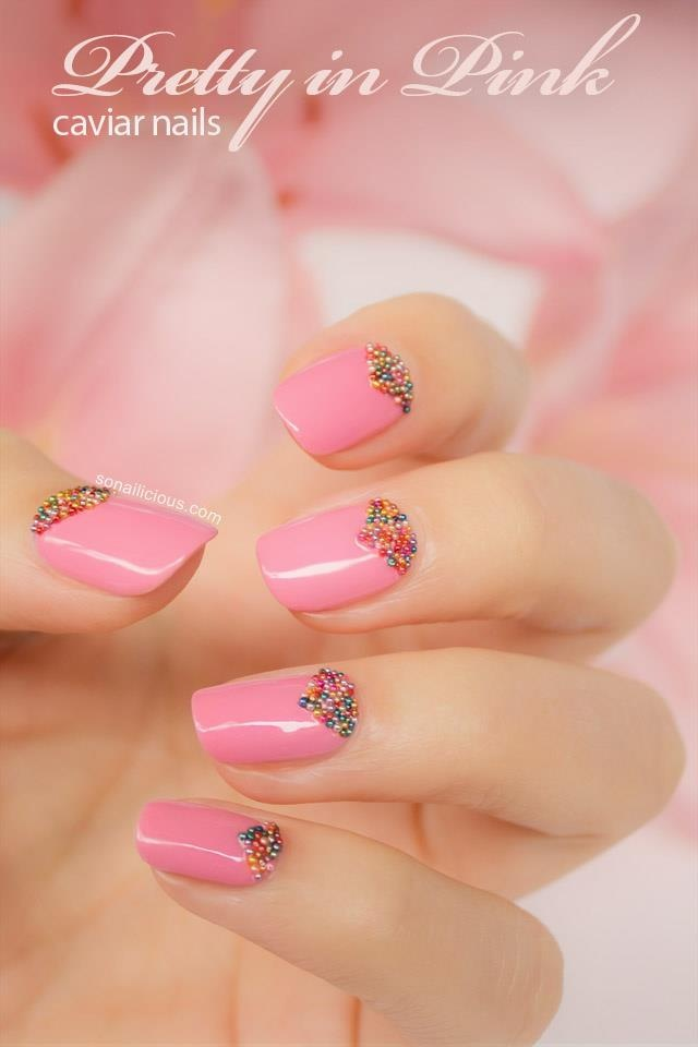 Pretty In Pink Caviar Nails -- Pastel pink nails with a little sparkle.