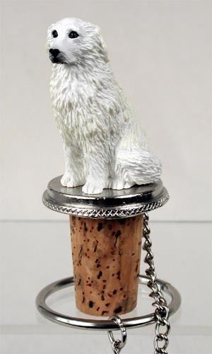 Realistic Elegant Hand Painted Great Pyrenees Figurine on Wine Bottle…