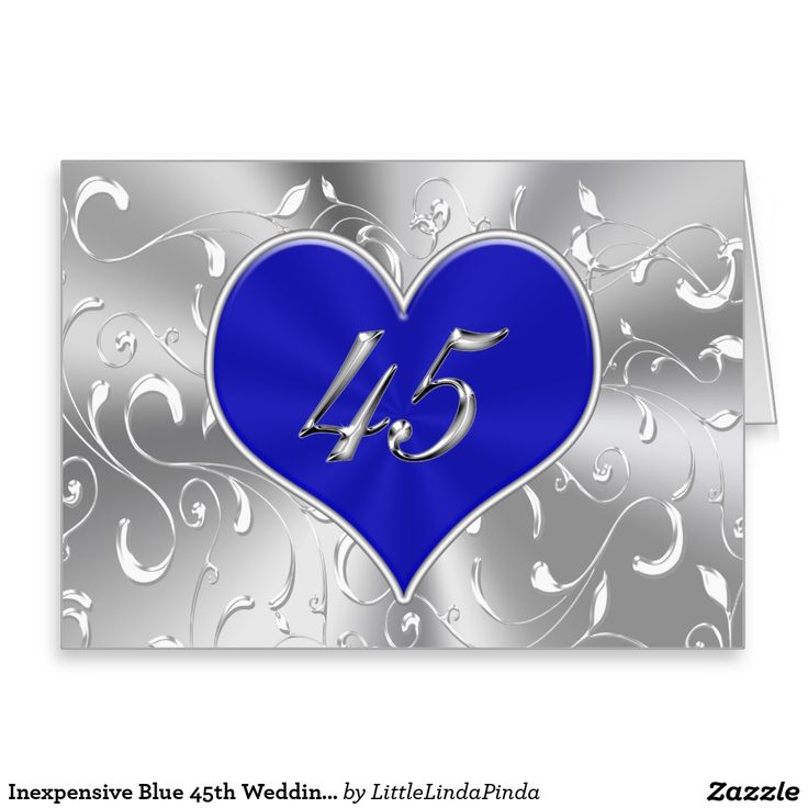 Inexpensive Blue 45th Wedding Anniversary Card Click Http Www Zazzle