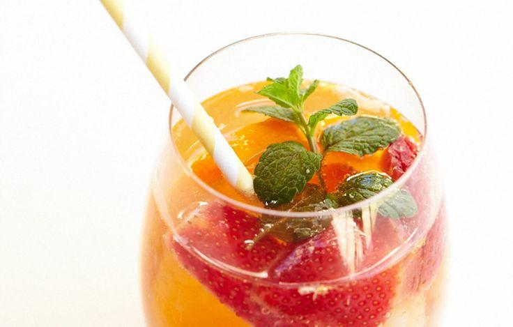 Lychee & Strawberry Tea Sangria | Dilmah Real High Tea    http://realhightea.dilmahtea.com/showcase/lychee-strawberry-tea-sangria/