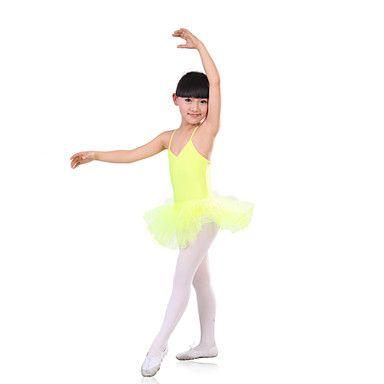 Balett Klänningar Barn Träning Spandex / Tyll Veckad 1 st. Grön / Röd / Gul Ballet Bar rygg Ärmlös Hög Klänningar 4942860 2016 – Kr.140