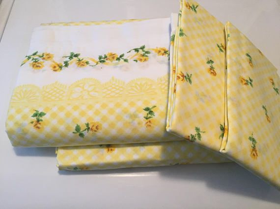 Vintage Cannon Monticello yellow floral full size sheet set