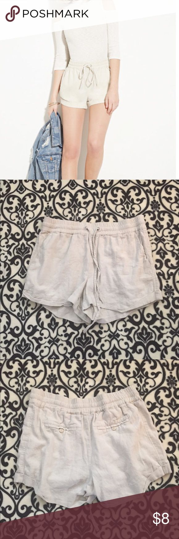 🔲Khaki Drawstring Fashion Shorts🔲 These have been worn at the most two times. However there is fraying on the pocket. See picture. Shorts
