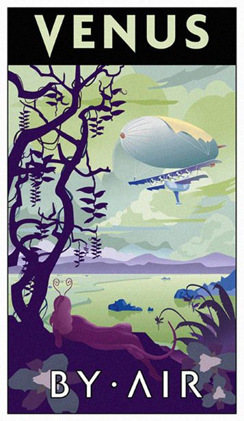 Solar system travel posters Venus