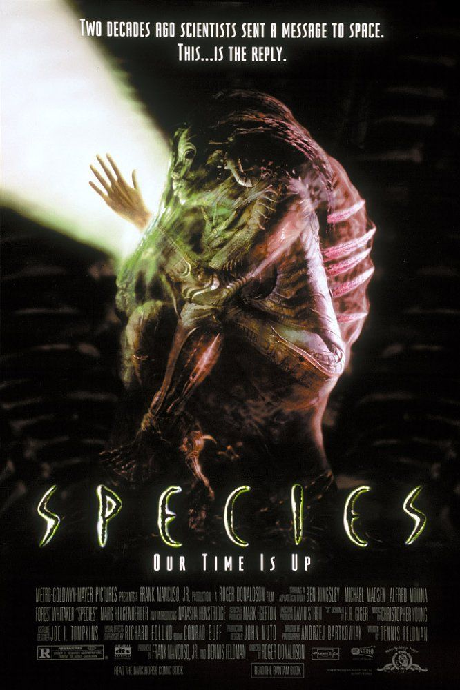 Species (1995) R  -  A group of scientists try to track down and trap a killer alien seductress before she successfully mates with a human.  -    Director: Roger Donaldson  -    Writer: Dennis Feldman  -   Stars: Natasha Henstridge, Michael Madsen, Ben Kingsley   -  ACTION / HORROR / SCI-FI