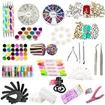 Complete Manicure Pedicure Salon Set With Nailart Rhinestones, Decorations, Glitters, Caviars, Stripes, Fimo, Metal Studs, Practice Tips, Tweezers, Cuticle Pushers, Nippers, Clipper, Nail Art And Acrylic Brushes, Dotting Tools, Polish Remover Correction Pens, Nail Files, And Sanding Blocks By VAGA®