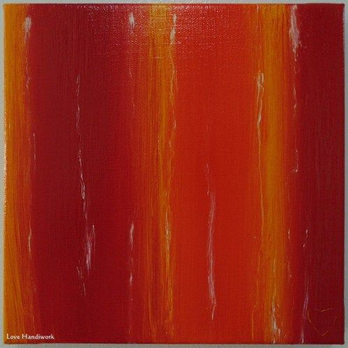 "Love 18 - RED, YELLOW, & ORANGE with White Abstract 8""x8"" Painting"