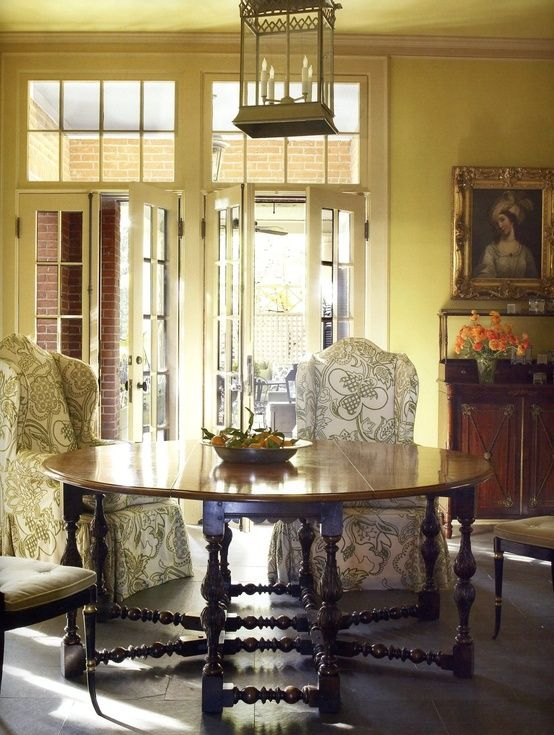 French Doors Gateleg Table And Wing Back Chairs