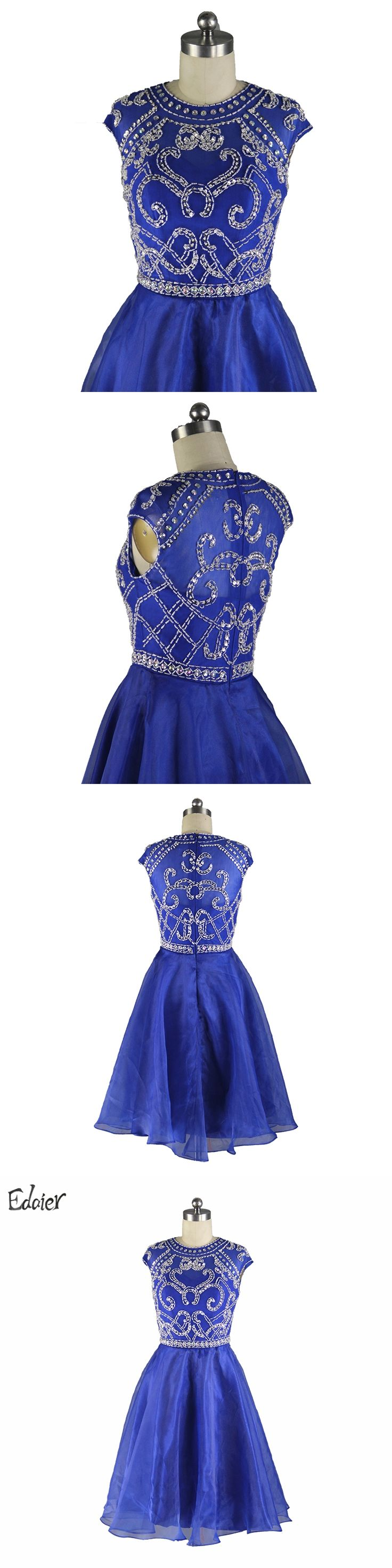Royal Blue Short Prom Dress 2017 A line Beaded Crystal Cap Sleeves Sheer Back Knee Length Formal Party Gown Cocktail Dresses
