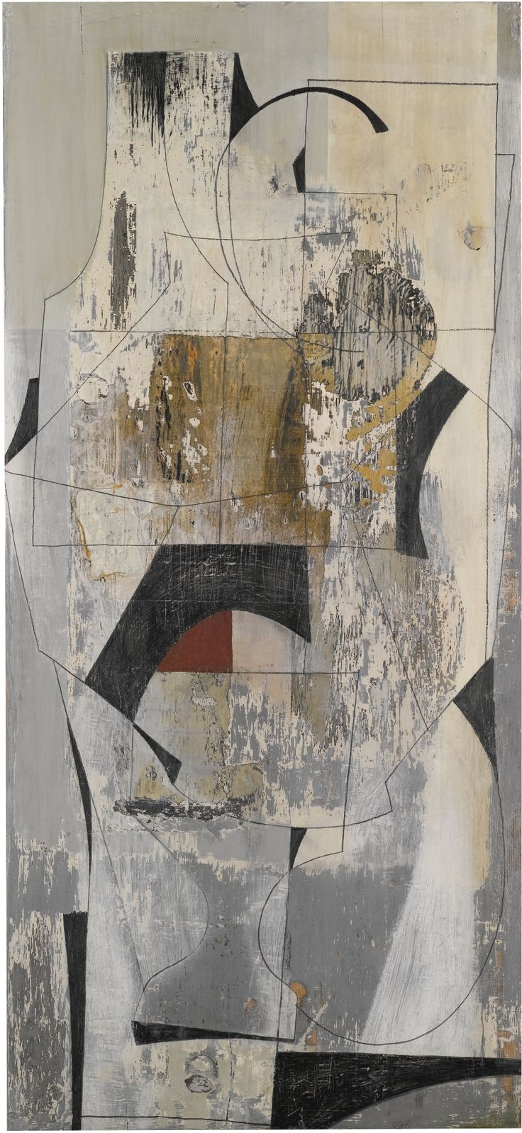 Ben Nicholson, AUG 24 - 52 (PALIMPSEST), oil and pencil and collage on panel, 107 x 51.5cm