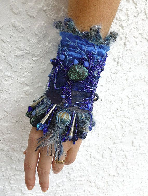 Fiber art bead embroidery gypsy bohemian blue cuff by Cesart64