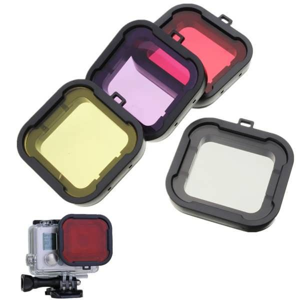 4Pcs Red Yellow Grey Purple Color Diving UV Filter Lens Cover For GoPro Hero 4 3 Plus  Features: This filter is designed for diving fans who like taking photos and videos under water Due to wave refraction, pictures taken underwater may suffer color distortion. Using this color correction...
