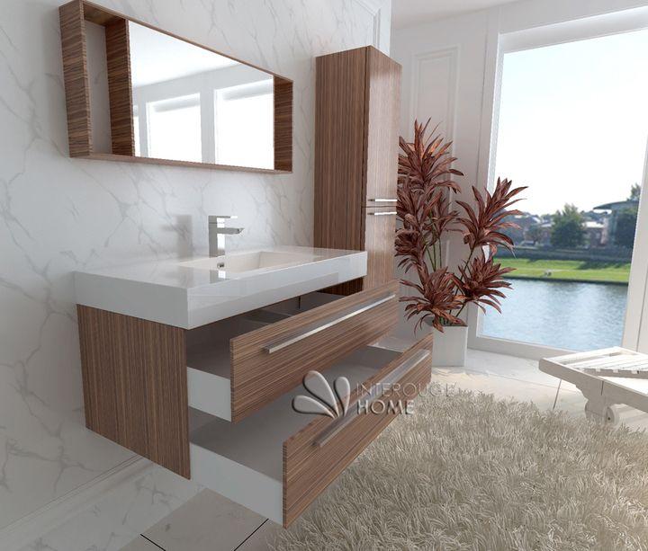 meuble salle de bain en bois avec simple vasque coloris erable ou caf rfblg - Meuble Salle De Bain Un Vasque Avec 2 Mitigeurs