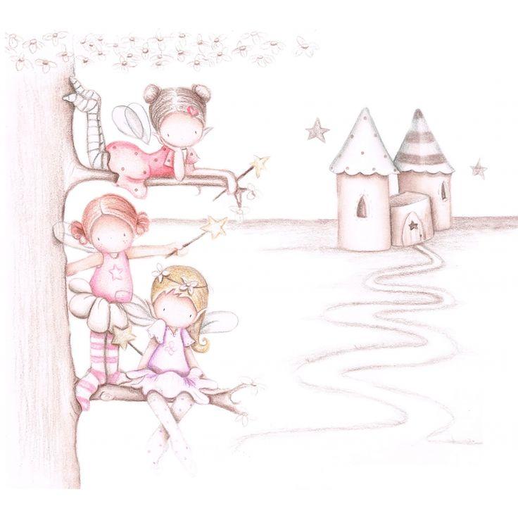 """Mural Infantil Personalizado """"hadas y castillo"""""""