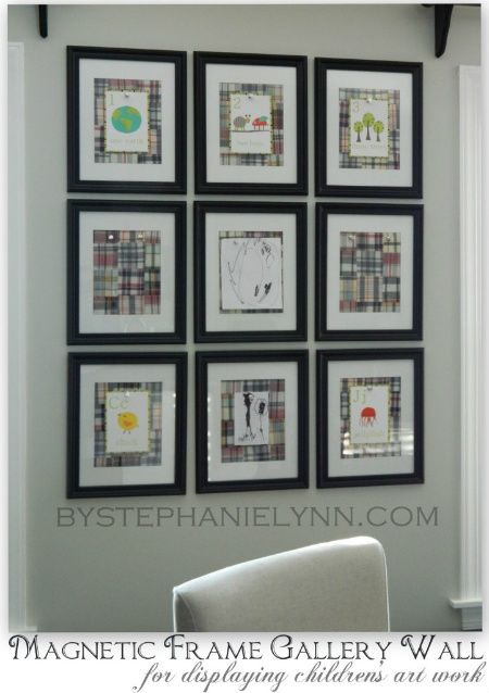 DIY Magnetic Frame Gallery Wall to Display Children's Art Work