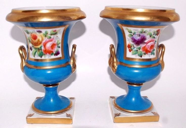 PAIR OF BEAUTIFUL HAND PAINTED FRENCH MADE IN FRANCE VASES